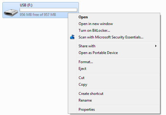 Bitlocker drive context menu.