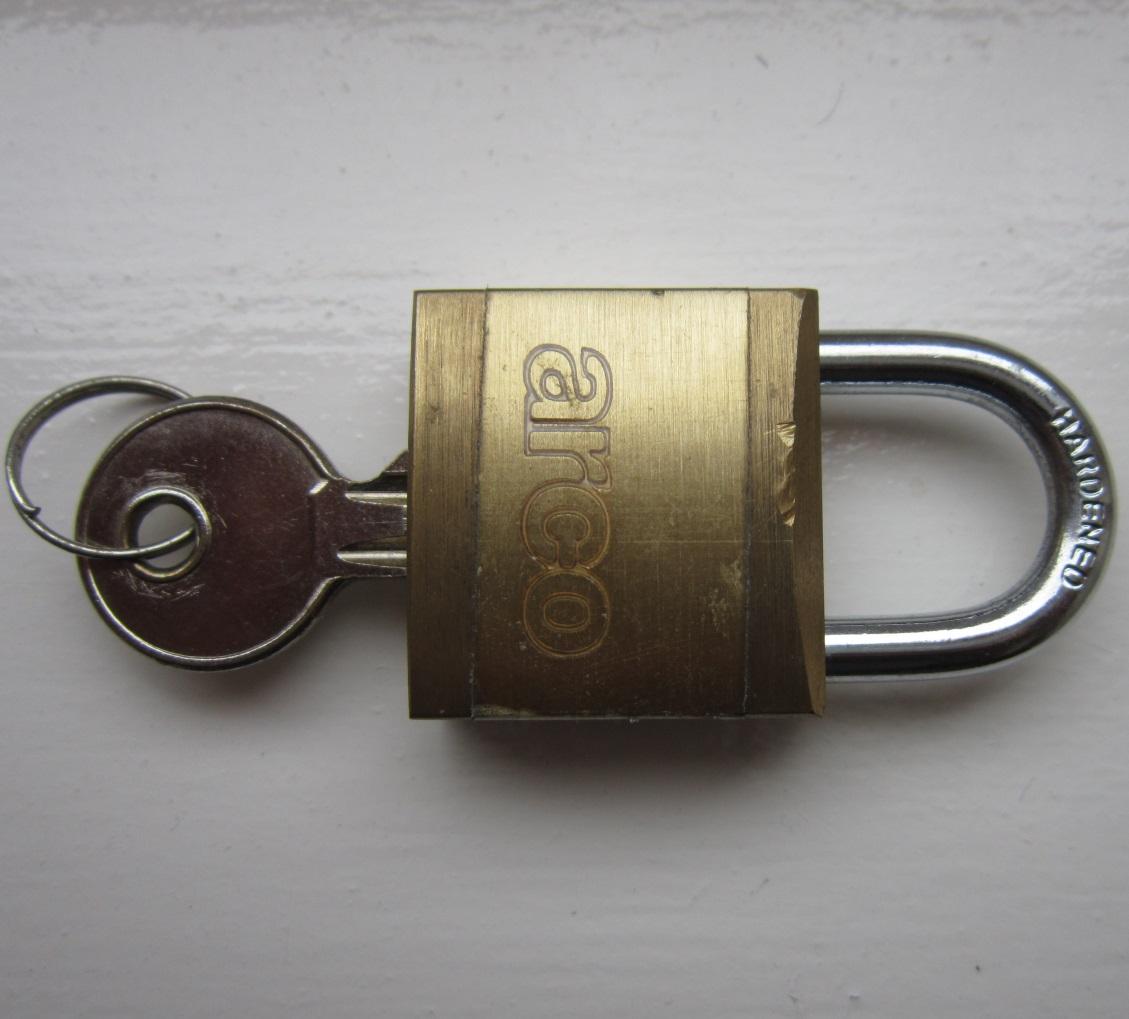 A padlock with a key.