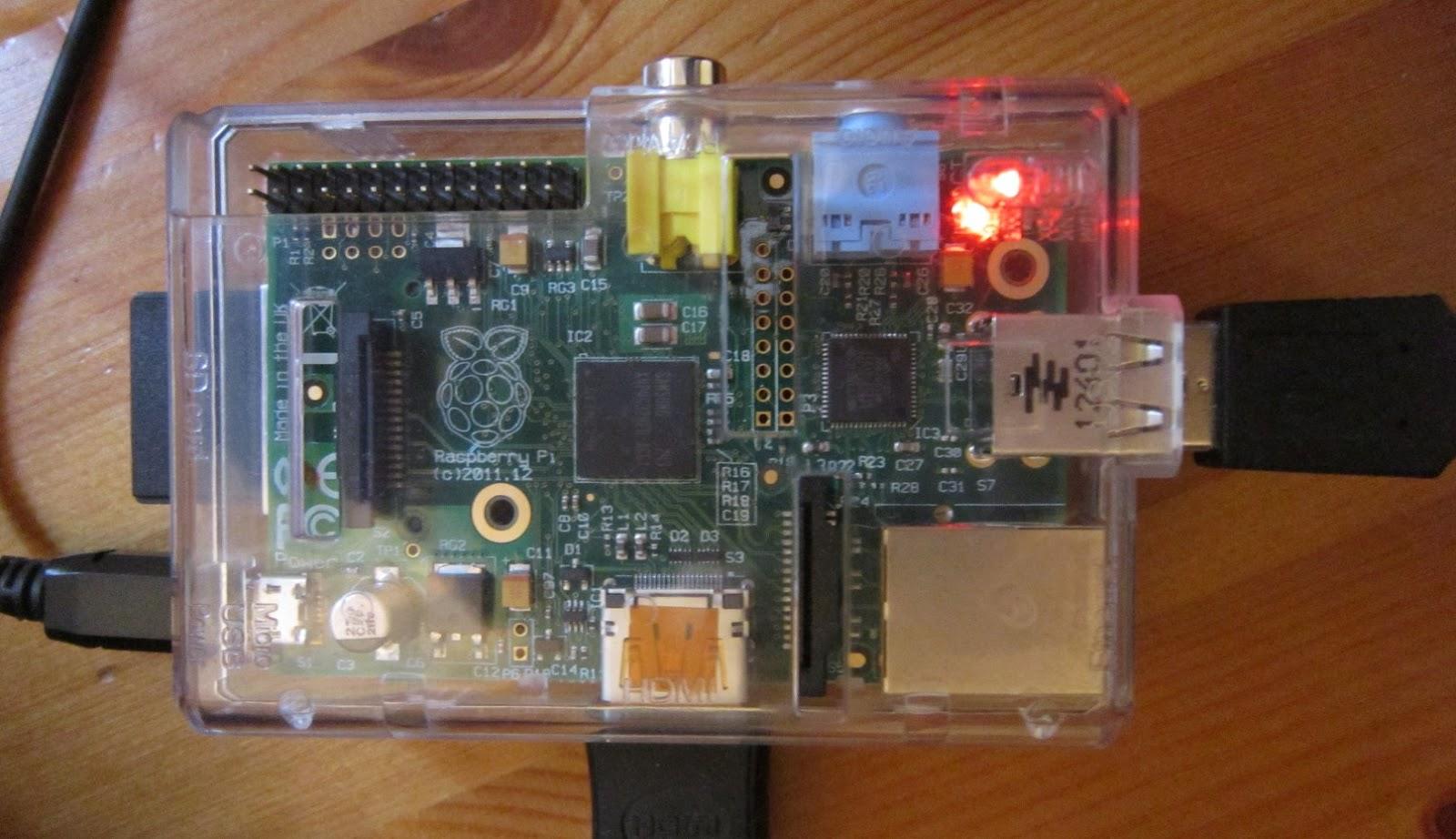 A powered on Raspberry Pi.
