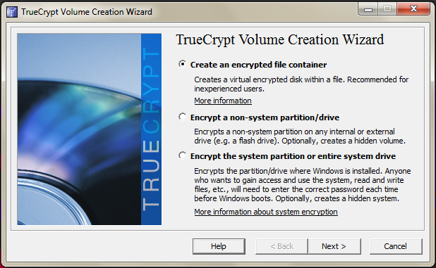 TrueCrypt program window showing options to create a new encrypted volume.