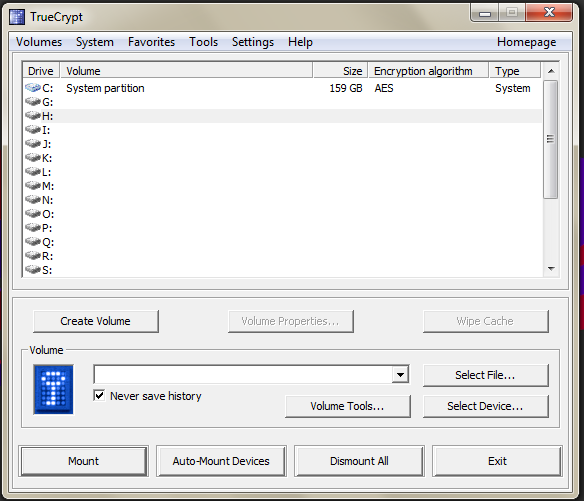 The TrueCrypt window showing a list of drives and drive letters to mount.