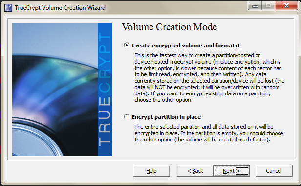 The TrueCrypt volume creation window.