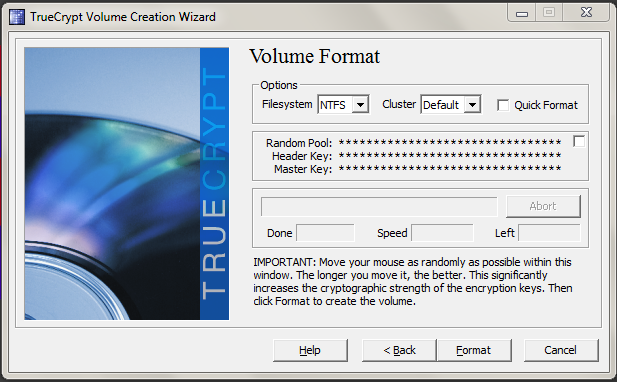 The TrueCrypt volume format window.