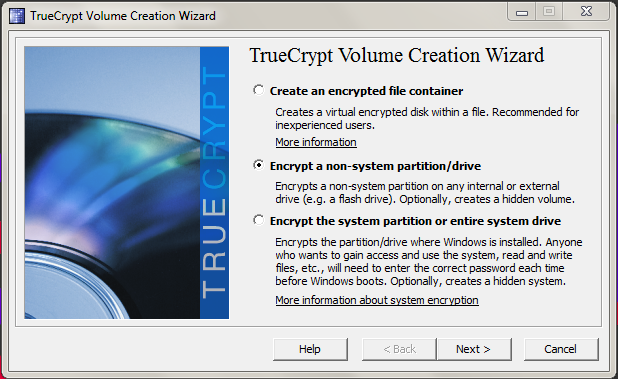 The TrueCrypt volume creation wizard.