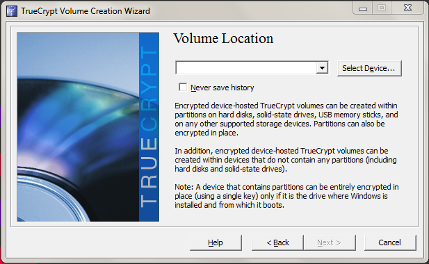 Specifying TrueCrypt volume location.