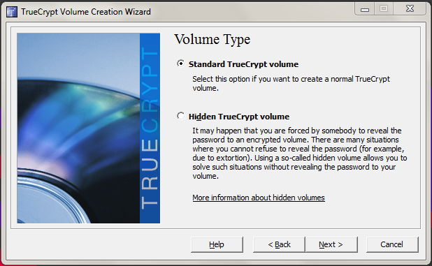 Specifying TrueCrypt volume type.