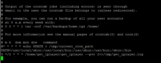 Crontab with get_iplayer scheduled.