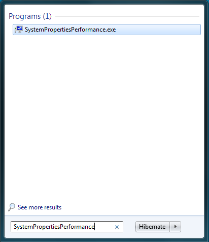 The Windows Start Menu with SystemPropertiesPerformance typed to display the settings menu that lets users change the Aero theme settings.
