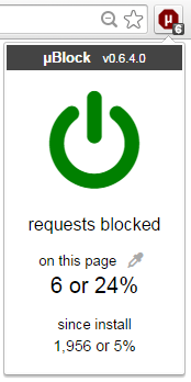 The ublock enable/disable icon.