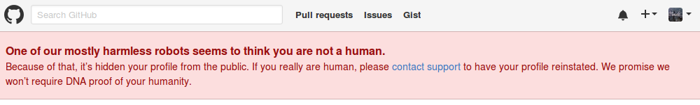 The GitHub message prompting me that I'm possibly not human.